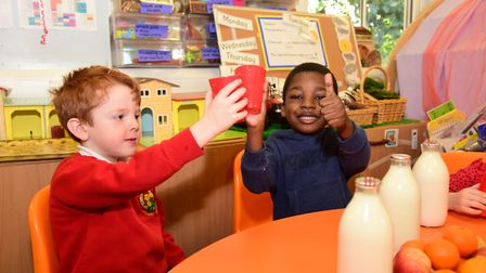Pupils give the change the thumbs up Picture: CHARLOTTE BOND