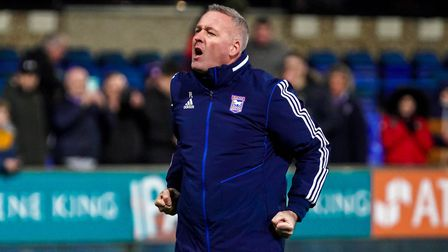 A pumped Town manager Paul Lambert interacts with the fans after the 1-0 victory over Lincoln. Pic
