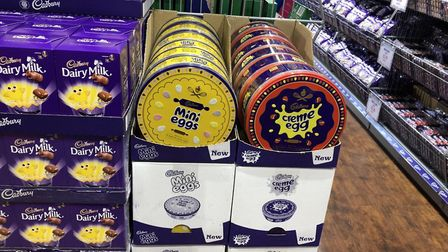 Tins of creme eggs and mini eggs at the Cadbury outlet at Braintree village Picture: NATALIE SADLER