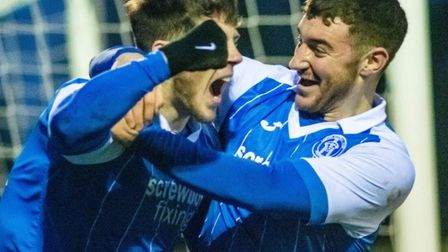 Zak Brown celebrates his first 86th minute equaliser for Leiston, in Saturday's 2-2 draw. Picture: H