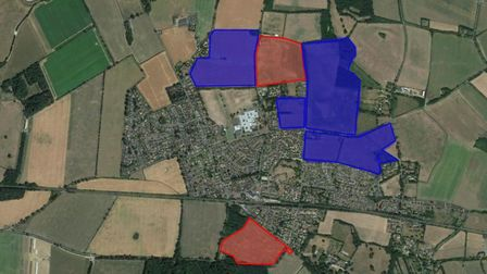 The sites coloured in blue are existing housing applications, many of which are under construction a
