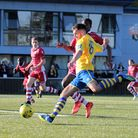 Tom Maycock ,who grabbed a late winner for AFC Sudbury against Brentwood Town. Picture: CLIVE PEARSO
