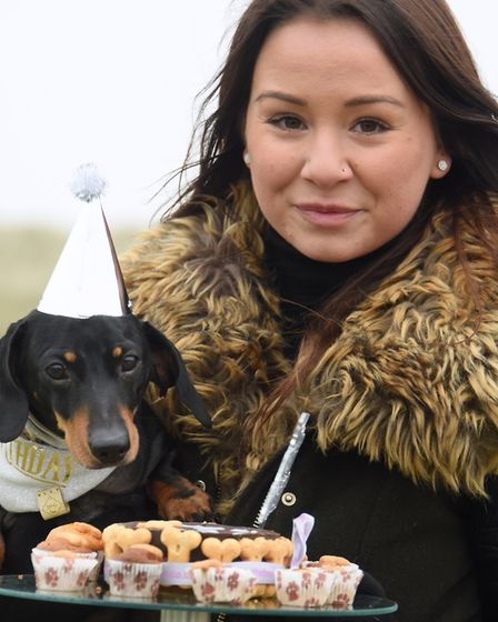 Organiser Laura Baggott with birthday boy, eight-year-old Percy, ready for his cake at the Southwold