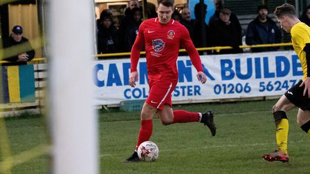 Christy Finch, who scored a hat-trick in Stowmarket Town's 7-0 win at Thetford Town. Picture: HOGAN