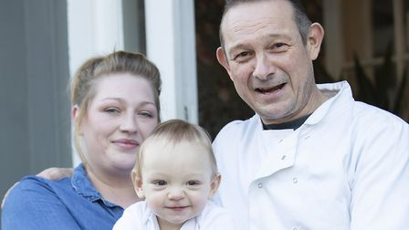 Theo, who was born 10 weeks premature, with parents Jonny and Jemma Nicholson. Picture: PHIL MORLEY