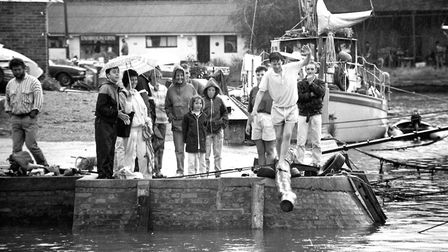 Walking the plank? It's a test of balance out over the water on a log Picture: ARCHANT