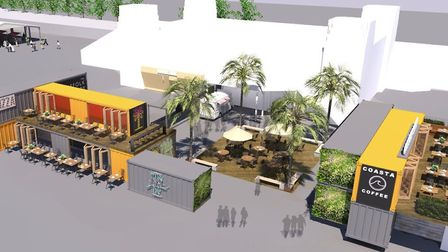 Beach Street, Felixstowe - cgi of how the food and retail development, incorporating shipping contai