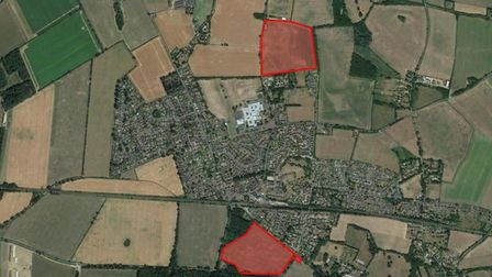 Two planning applicatons totalling 420 homes in Thurston. Picture: GOOGLE MAPS