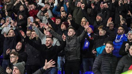 Ipswich Town fans celebrate last weekend's 1-0 victory over Lincoln. Photo: Steve Waller