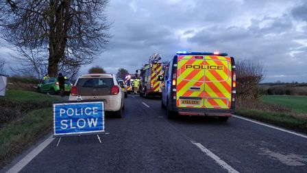 The car was pulled from the ditch in Cavendish Road by firefighters Picture: HAVERHILL POLICE