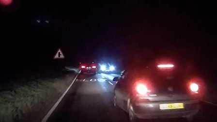 The dashcam footage captured a near miss on the A1094 near Aldeburgh. Picture: STEVE TAYLOR