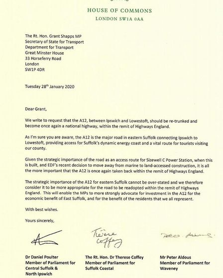 The letter from Suffolk MPs to Transport Secretary Grant Shapps. Picture: DR DAN POULTER