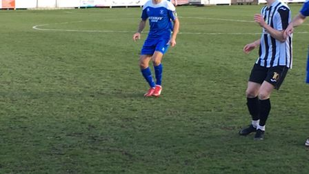 Carlos Edwards, in action on his Bury Town debut against Dereham this afternoon. Picture: CARL MARST