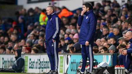 Town manager Paul Lambert and assistant Stuart Taylor watch from the touchline. Picture Steve Wall