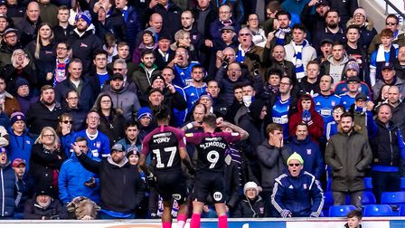 Sammie Szmodics taunts the Ipswich fans after he had scored to give the visitors a 2-0 lead. Pictu