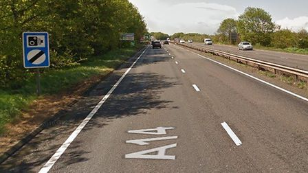 A person has been taken to hospital following a crash on the A14 eastbound near Newmarket Picture: G