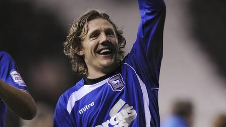 Jimmy Bullard celebrates in front of the Town fans after the 2-1 away win at Derby County. He scored