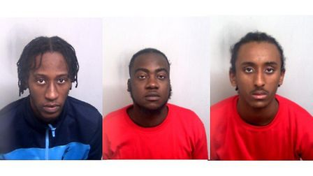 Left to right: Calvin Armstrong, 22, Donald Adu, 25 and Ermias Yohannes, 16 have all been found guil