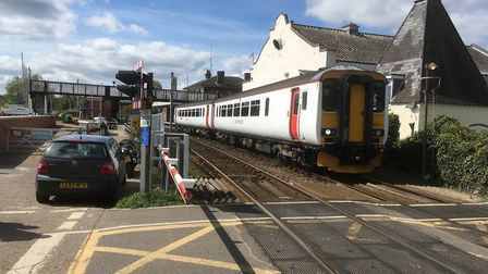 A Greater Anglia train pulls out of Woodbridge station on the East Suffolk Line - these trains have