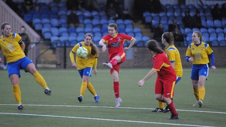 Annie Northwood volleys home her second goal against Needham Market Women in their 4-2 win over Newm