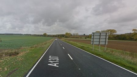 A van is stuck in a ditch on the A1307. Picture: GOOGLE MAPS