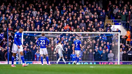 Town players and fans in disbelief after Peterborough's second goal. Picture Steve Waller www.step