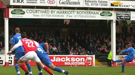 Jim Magilton's free-kick rattles the bar during Town's visit to Rotherham in March, 2004, at the Mil