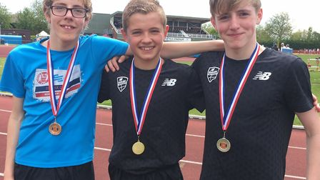 Top performers, from left, Ben Peck (third), winner Lewis Sullivan and James Peck (13th) ,who all ex