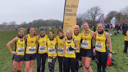 Halstead Road Runners' women's squad, at the South of England Cross Country Championships