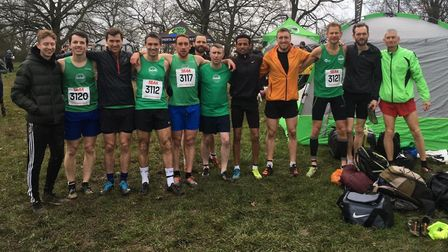 Colchester Harriers' men's squad at the South of England Championships, at Parliament Hill Fields.