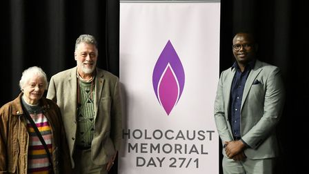 Ms Raphael, Larry Lisner and Ganza Gahizi, who spoke at Holocaust Memorial Day on January 27 Picture