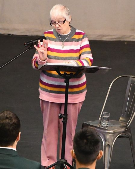 Evelyne Raphael spoke to the students about her time trying to survive in WWII France by hiding in a