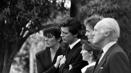 Jeremy Bamber and girlfriend Julie Mugford at the funeral of three of his family members Picture: PA