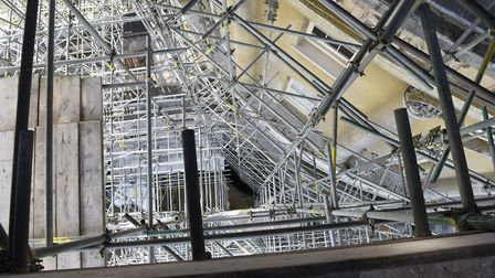 Looking through the scaffolding from the top of the Rotunda. Picture: NATIONAL TRUST