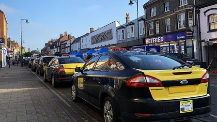 Taxis in Newmarket. This colour scheme could be rolled out for all Hackney carriages in West Suffolk