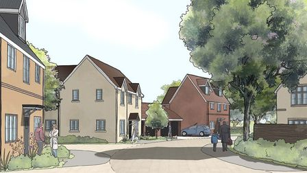 An artist's impression of the new homes on the housing estate being built in exning Road, Newmarket.