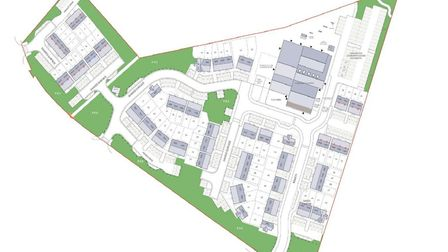 This shows where the green spaces will be. The site is also adjacent to a recreation ground with spo