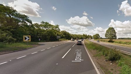 There are long delays on the northbound A12 after a crash near Holton St Mary Picture: GOOGLE MAPS