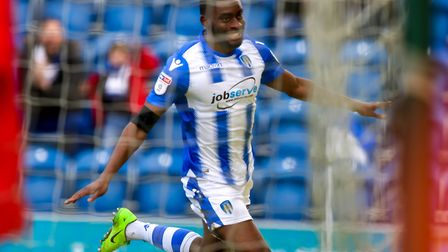 Kane Vincent-Young celebrates a goal for Colchester Picture: STEVE WALLER