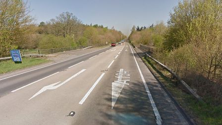 There has been a crash on the A134 near Sudbury. Picture: GOOGLE MAPS