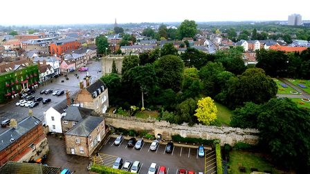 View over the Angel Hill, Bury St Edmunds from the tower of St Edmundsbury Cathedral Picture: ANDY