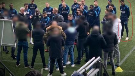 Former Ipswich Town defender Jordan Spence (far right) watches on as ADO Den Haag fans confront ADO
