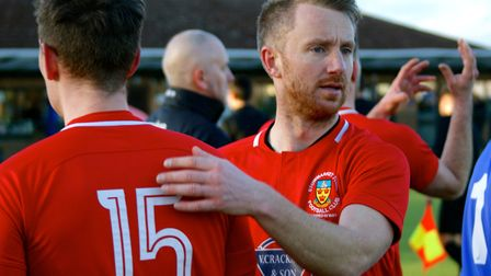 Stowmarket Town's experienced midfielder Dean Bowditch celebrates after a 4-2 win at Newmarket Town.