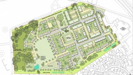 An indicative plan of what the layout of the Martlesham police HQ site could be if planning permissi