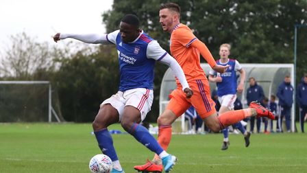 Tyreece Simpson takes a shot for Ipswich Town U23s during their 3-1 win over Cardiff City at Playfo