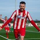 Ollie Canfer celebrates his 95th minute winner for the Seasiders at Grays Athletic. Picture: THOMAS