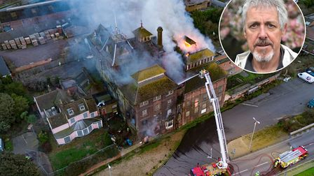 Griff Rhys Jones, inset, was horrified by news of the Tolly Cobbold fire. Pictures: SKY CAM EAST/SAR