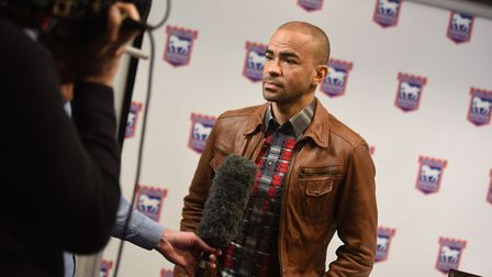 Kieron Dyer, speaking at the launch of his autobiography in 2018. Photo: Gregg Brown