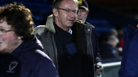 Ipswich Town owner Marcus Evans pictured before Town's 0-0 draw at AFC Wimbledon. Photo: ROSS HALLS