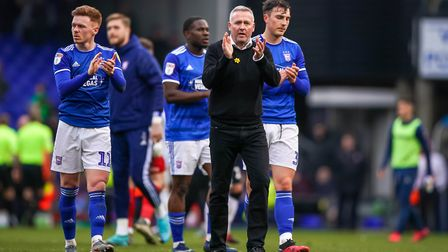 Ipswich Town manager Paul Lambert applauds fans following Saturday's 1-0 home loss to Coventry - a s